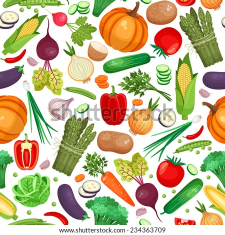 Seamless pattern of large amount of vegetables on white background - stock vector