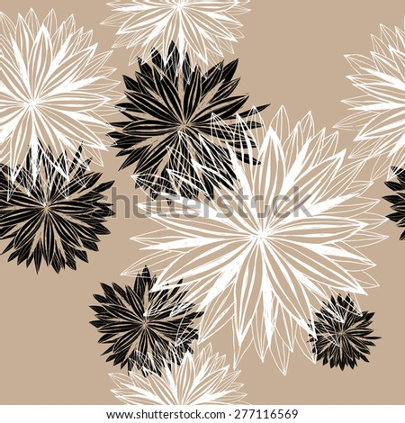 Seamless pattern of large flowers. Contour Hand-drawing. - stock vector