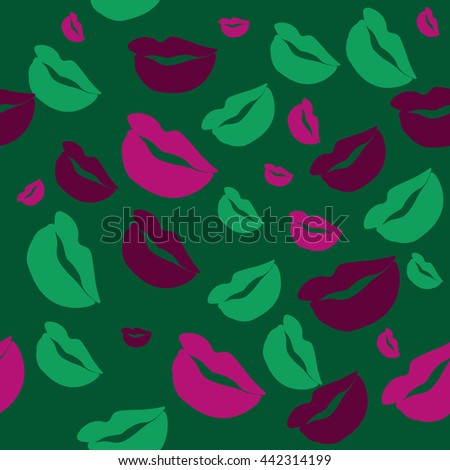 Seamless pattern of large silhouettes of kissing lips colorful background