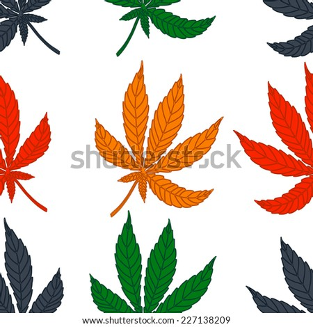 Seamless pattern of leaf marijuana different colors on a white background. Vector texture for your design. - stock vector
