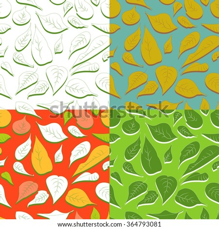 Seamless pattern of leaves and flowers poinsettia plant. Set of four textured natural backgrounds. EPS 10. - stock vector