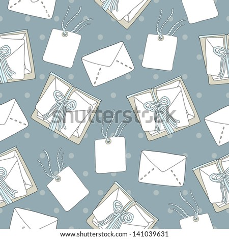 Seamless pattern of mail letters and envelope illustration background