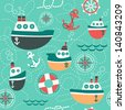 Seamless pattern of marine symbols;  boat, anchor, rope and steering wheel. Cartoon marine icons. Kid's elements for scrap-booking. Childish background. Hand drawn vector illustration. - stock vector