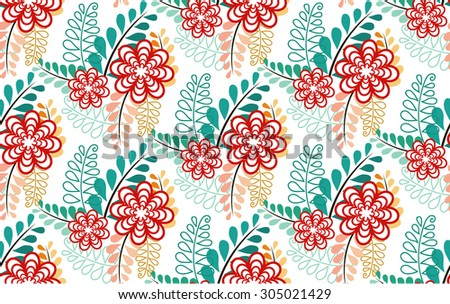 seamless pattern of multi-colored leaf and red sorted flowers look lovely in vintage style - stock vector