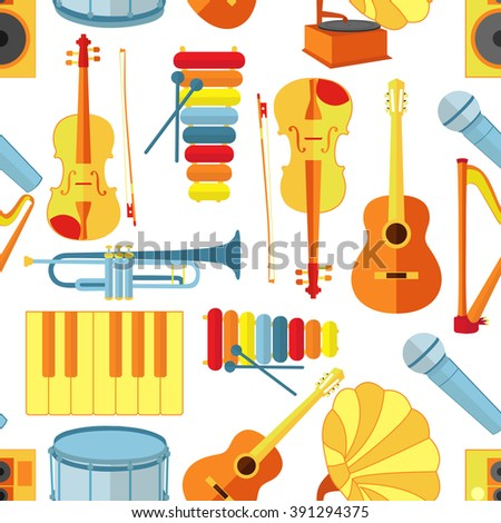 Seamless pattern of musical instruments collection and symbols.Design elements: microphone, gramophone, guitar, piano, xylophone, violin, drum, harp and others. Vector jazz or blues music illustration - stock vector