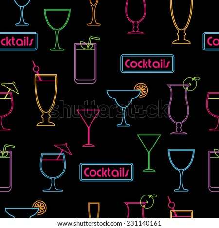 seamless pattern of neon cocktail glasses and signs on black background - stock vector