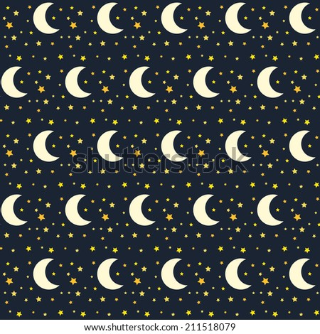 Seamless pattern of night sky with stars and moon in brick style... - stock vector