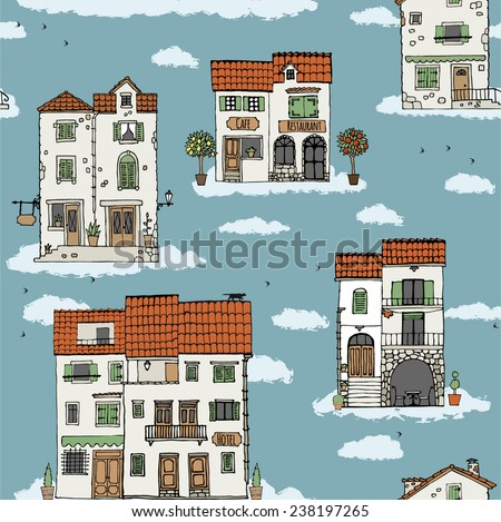 Seamless pattern of old houses. Hand drawn sketch. Vector illustration. - stock vector