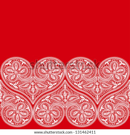 seamless pattern of openwork lace white heart on a red background to the Valentine's Day - stock vector