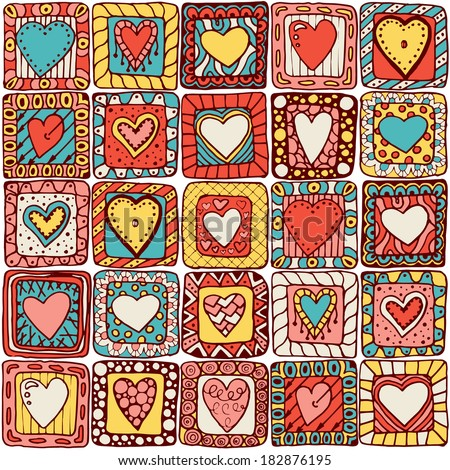 Seamless pattern of original drawing doodle hearts. Series of template design for love card with set of doodle hearts #1 (colored version). - stock vector