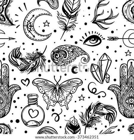 Seamless pattern of Ornamental Boho Style Elements. Vector illustration. Tattoo template. Trendy hand drawn tribal symbol background. Hippie design elements. Coloring book pages for adults. - stock vector