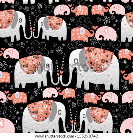 seamless pattern of ornamental elephants on a black background  - stock vector