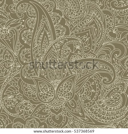 "Seamless pattern of ""Paisley"" based on traditional oriental patterns. Hand drawing. Vintage style. Linear drawing. Ochre"