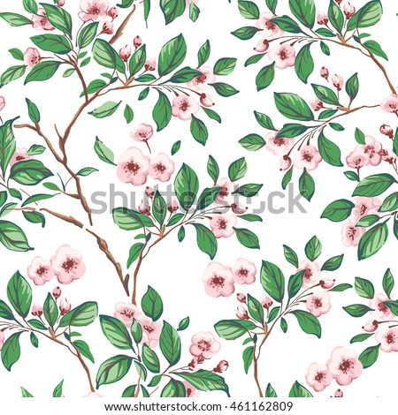 Seamless pattern of pink flowers and green leaves on a white background.