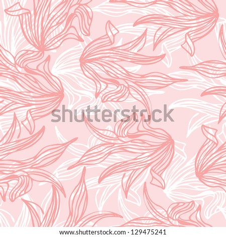 Seamless pattern of pink leaf background vector illustration - stock vector