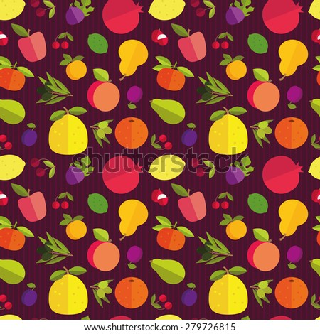 Seamless pattern of placer fruits of fruit trees. Citrus fruits, stone fruits, pome fruits and exotic fruits on a dark purple background. - stock vector