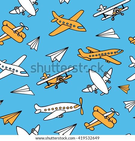 Seamless pattern of planes in the sky. Vector image of aircraft. Yellow and white airplanes on a blue background.  Can be used for Wallpaper, fabrics, packaging. - stock vector