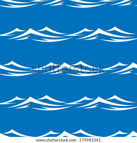 Seamless pattern of pretty white capped waves in a blue ocean or sea, vector illustration in square format for design
