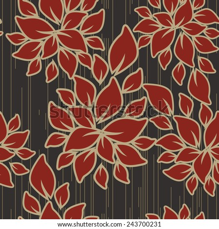 Seamless pattern of red and beige colors on black background  - stock vector