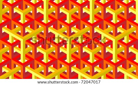 seamless pattern of red and yellow blocks - stock vector