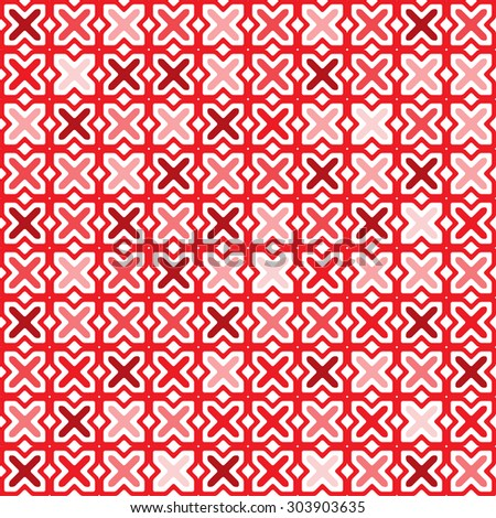 Seamless pattern of red crosses - stock vector