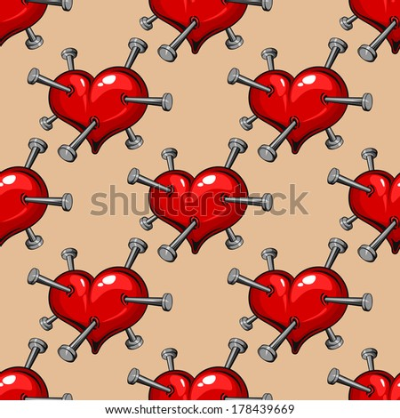 Seamless pattern of red hearts studded with nails conceptual of a broken or unrequited romance, heartbreak or ill-health, vector illustration in square format - stock vector
