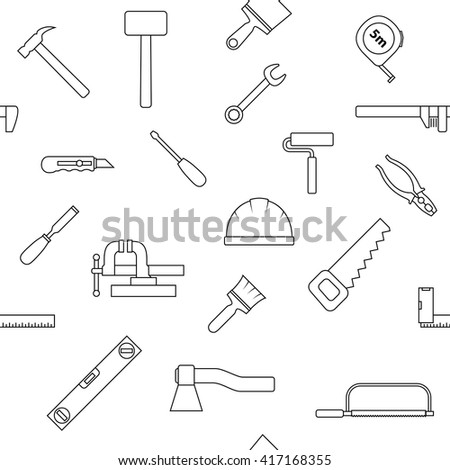 Seamless pattern of repair tool icons. Home repair signs. Worker tools. Isolated on white background. Vector illustration. - stock vector