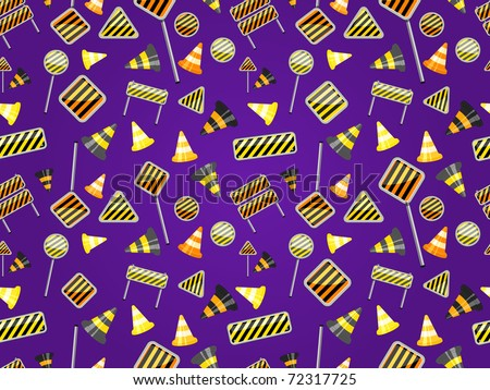 seamless pattern of road sign on dark violet background - stock vector