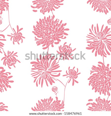 seamless pattern of roses and chrysanthemums - stock vector