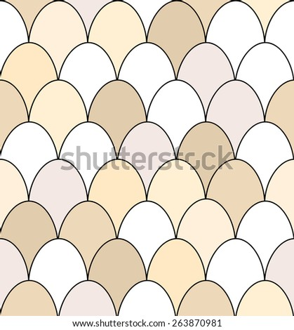 Seamless pattern of rows of brown and white chicken eggs. EPS10 vector format - stock vector