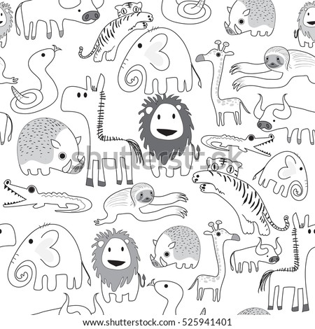 Seamless pattern of safari animals in black and white use as background, wallpaper, card and wrap paper