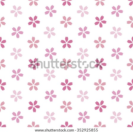 Seamless pattern of sakura silhouette - stock vector