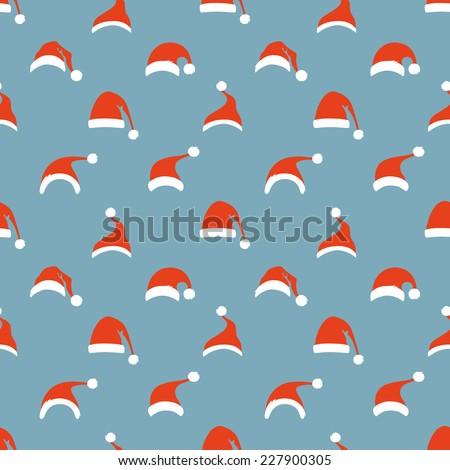 Seamless pattern of Santa hats. Christmas retro background.  - stock vector