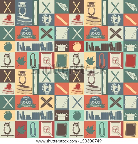 Seamless pattern of school and education icons.  EPS 8. - stock vector
