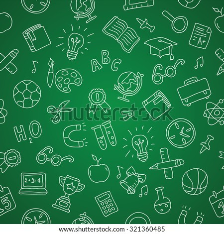 Seamless pattern of school icons on a green chalkboard. Vector.
