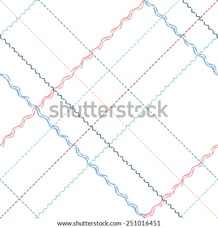 Seamless pattern of sewing stitches. Hand-drawn seams on white background. - stock vector