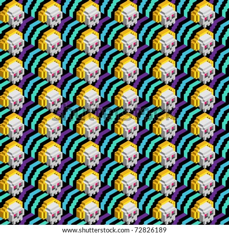 Seamless pattern of skulls with headphones - stock vector