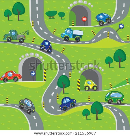 Seamless pattern of small funny cars on the road with trees and grass area. Children vector illustration