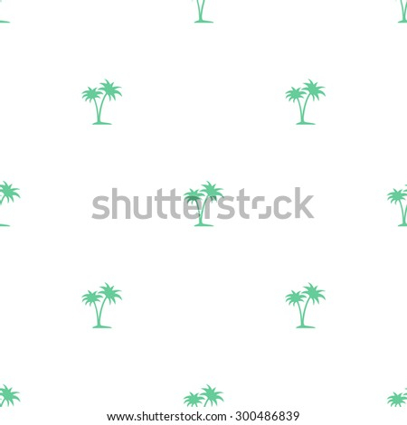Seamless pattern of small green palm trees on a white background. - stock vector