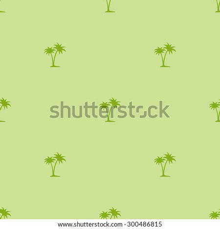 Seamless pattern of small palm trees pale green. - stock vector