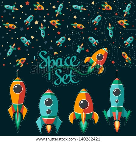 Seamless pattern of space, rocket and stars. Cartoon spaceship icons. Kid's elements for scrap-booking. Childish background. Hand drawn vector illustration.
