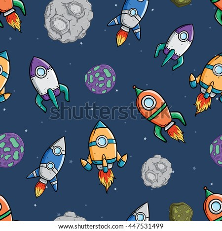 Seamless pattern of spaceship with star and asteroid