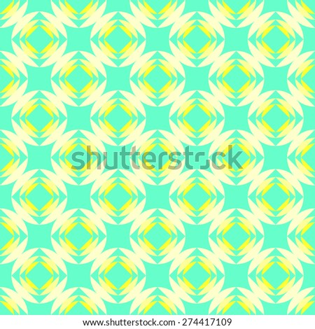 Seamless pattern of squares in circles goes into the distance to infinity illusion of fantasy in bright yellow and pale yellow and azure blue - stock vector