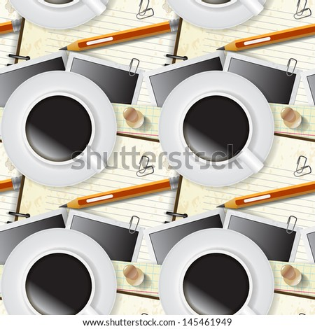 Seamless pattern of stationery, notepad and coffee - stock vector