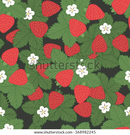 seamless pattern of strawberries with leaves and flowers - vector illustration. - stock vector