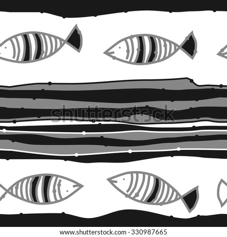Seamless pattern of striped motif, spots, stripes, doodles, fishes. Hand drawn.