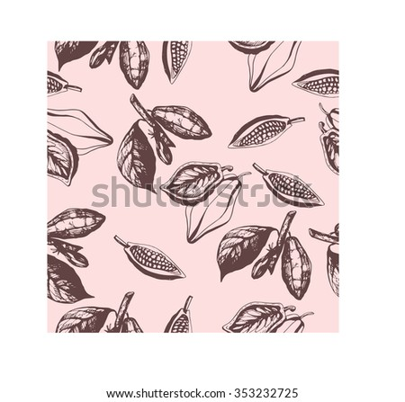 Seamless pattern of stylized leaves and fruits of cocoa beans. Vector illustration. - stock vector