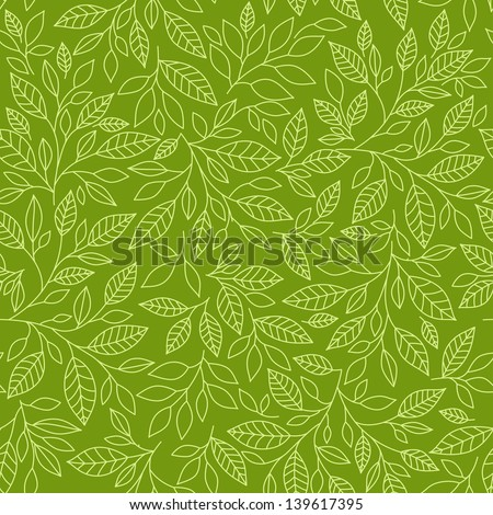 Seamless pattern of stylized leaves on a green background - stock vector