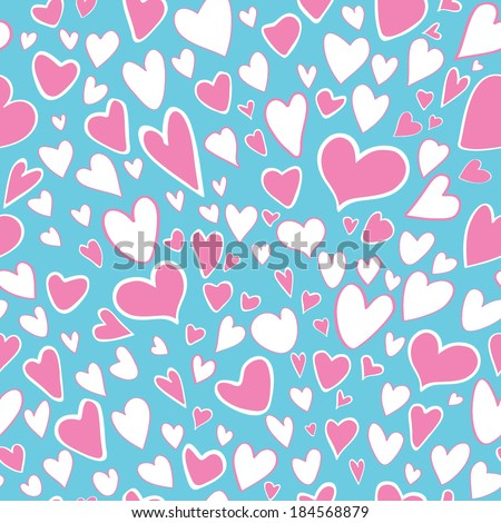 Seamless pattern of stylized light pink and white colors hearts on a cyan color background