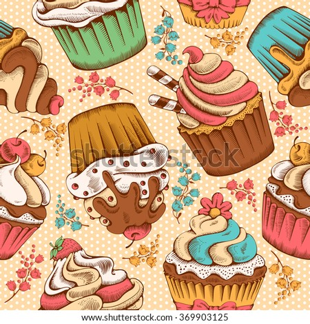 Seamless pattern of sweet bakery decorated cupcakes hand drawn in vintage engraved style. Vector illustration.  - stock vector